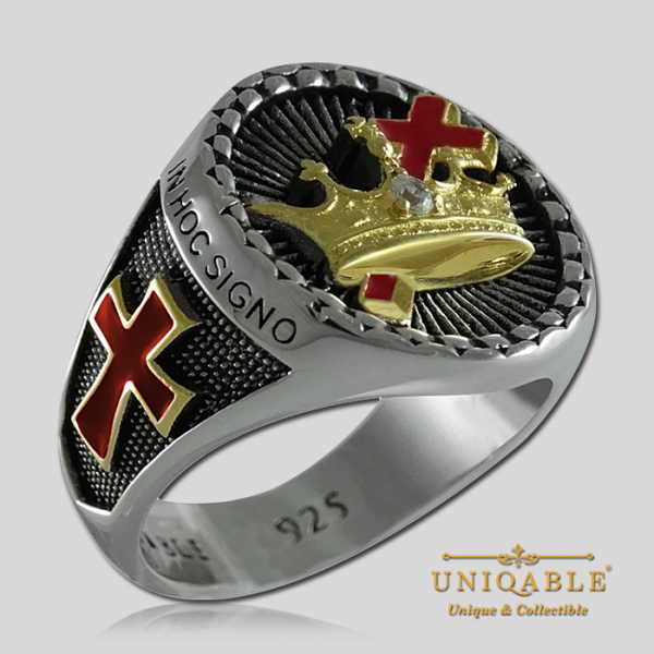 Knight Templar Cross and Crown Sterling Silver Gold Plated Mason Masonic Freemason Rings Freemasonry Men Historical Ring1