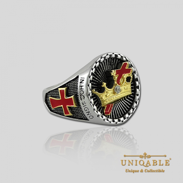 Knight Templar Cross and Crown Sterling Silver Gold Plated Mason Masonic Freemason Rings Freemasonry Men Historical Ring3