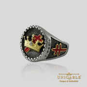 Knight Templar Cross and Crown Sterling Silver Gold Plated Mason Masonic Freemason Rings Freemasonry Men Historical Ring6