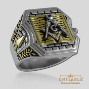 Knight Templar Sterling Silver Gold Plated Mason Masonic Freemason Bible Freemasonry Men Historical Ring1