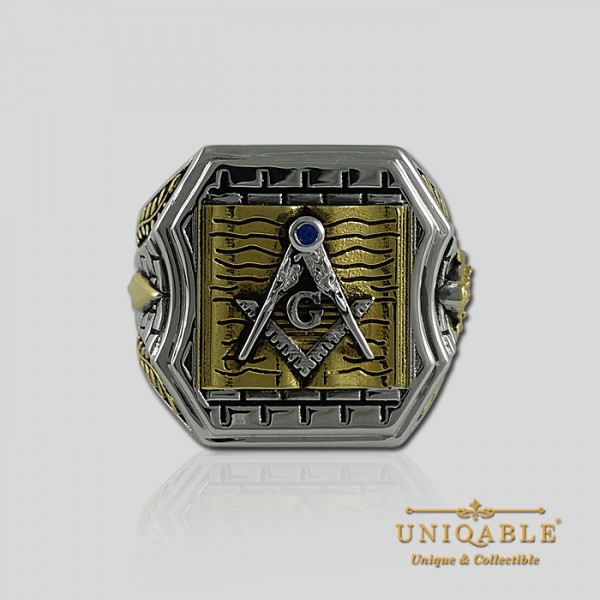 Knight Templar Sterling Silver Gold Plated Mason Masonic Freemason Bible Freemasonry Men Historical Ring3