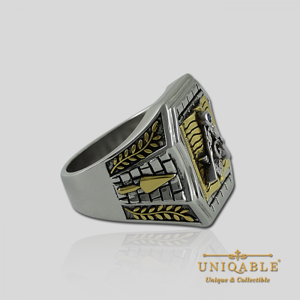 Knight Templar Sterling Silver Gold Plated Mason Masonic Freemason Bible Freemasonry Men Historical Ring5