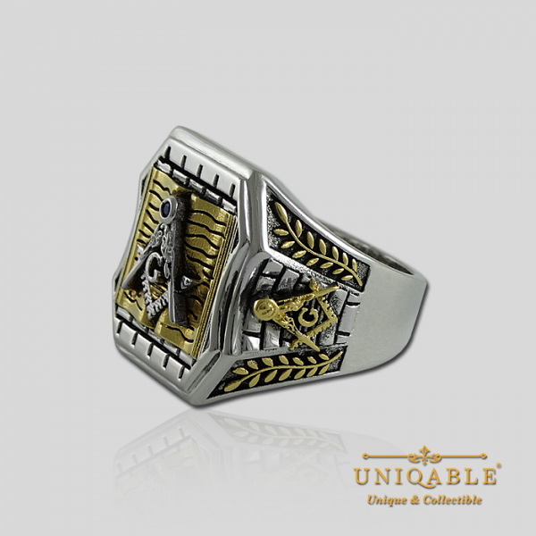 Knight Templar Sterling Silver Gold Plated Mason Masonic Freemason Bible Freemasonry Men Historical Ring6