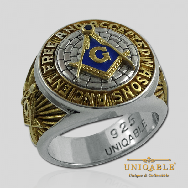 Knight Templar Sterling Silver Gold Plated Mason Masonic Freemason Freemasonry Man Historical Ring1