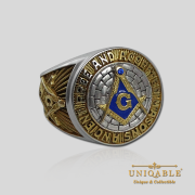 Knight Templar Sterling Silver Gold Plated Mason Masonic Freemason Freemasonry Man Historical Ring2