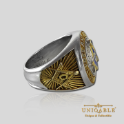 Knight Templar Sterling Silver Gold Plated Mason Masonic Freemason Freemasonry Man Historical Ring5