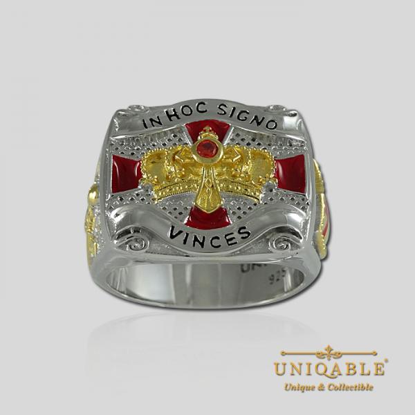 Knight Templar Sterling Silver Gold Plated Mason Masonic Freemason Freemasonry Men Ring2