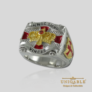 Knight Templar Sterling Silver Gold Plated Mason Masonic Freemason Freemasonry Men Ring3