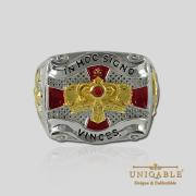 Knight Templar Sterling Silver Gold Plated Mason Masonic Freemason Freemasonry Men Ring4