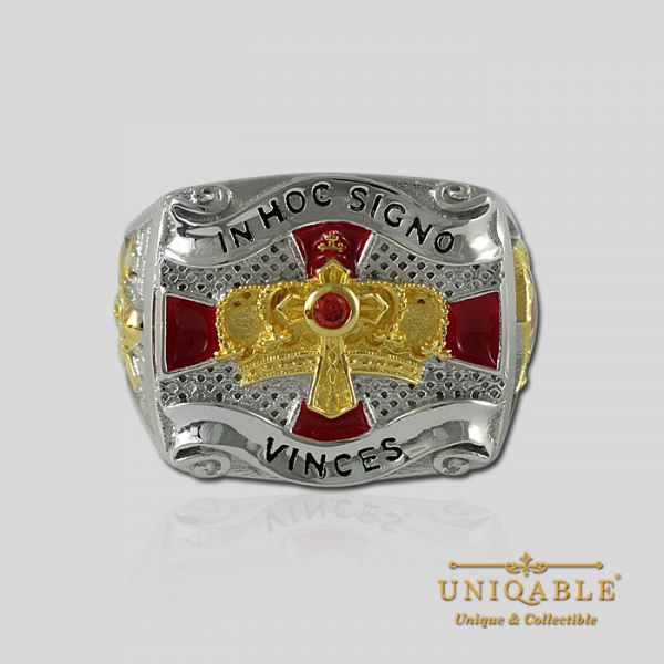 Knight Templar Sterling Silver Gold Plated Mason Masonic Freemason Freemasonry Men Ring4