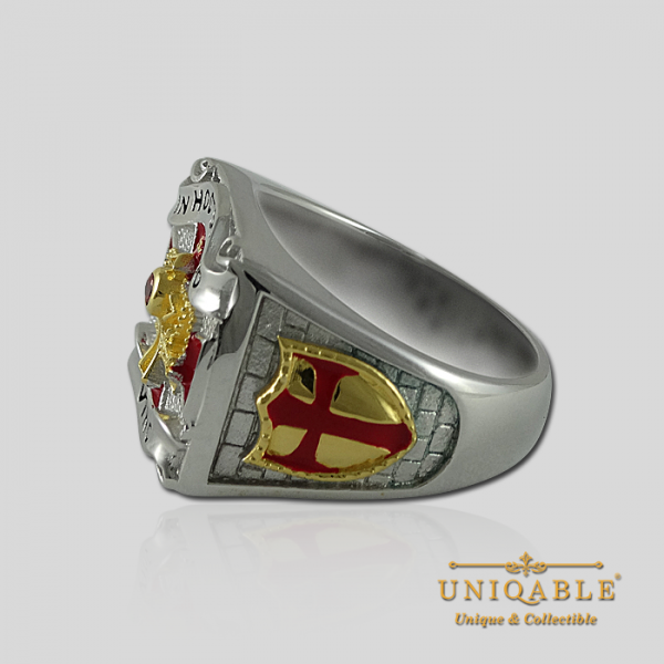 Knight Templar Sterling Silver Gold Plated Mason Masonic Freemason Freemasonry Men Ring6