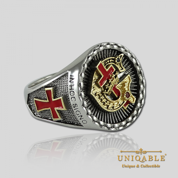 Knight Templar Sterling Silver Gold Pld Mason Masonic Rings Freemason Freemasonry Men Historical Ring2
