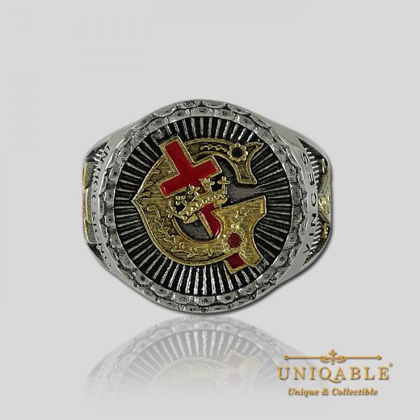 Knight Templar Sterling Silver Gold Pld Mason Masonic Rings Freemason Freemasonry Men Historical Ring3