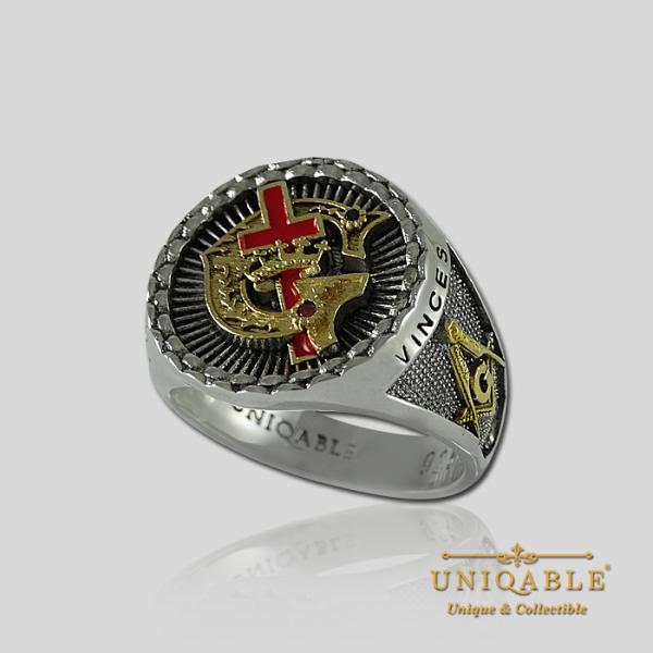 Knight Templar Sterling Silver Gold Pld Mason Masonic Rings Freemason Freemasonry Men Historical Ring4