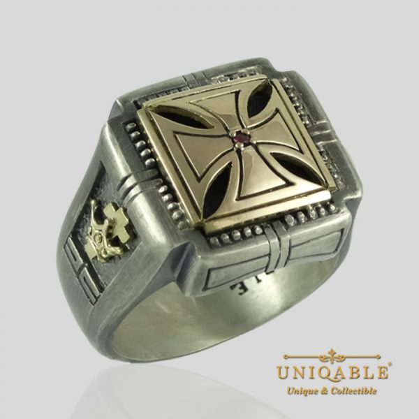knights-templar-skull-sterling-silver-gold-masonic-rings-freemason-cross-ring-6