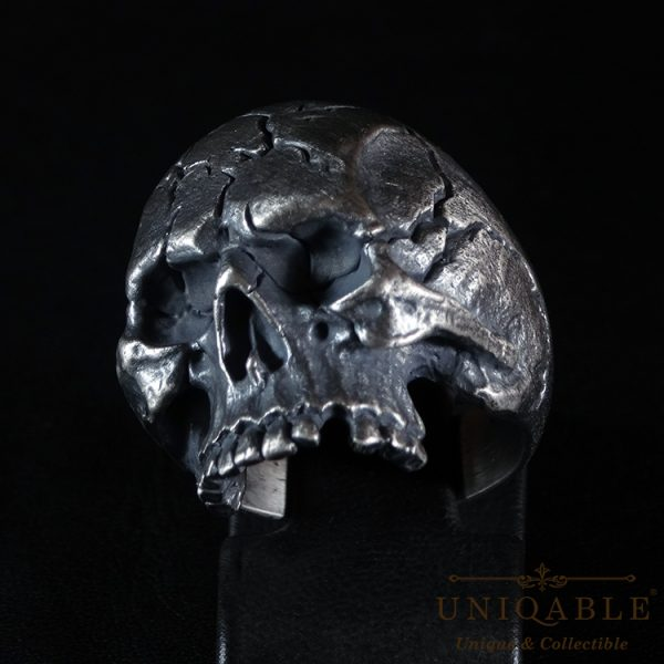 Half Jaw Skull Sterling Silver 925 Biker Ring Uniqable
