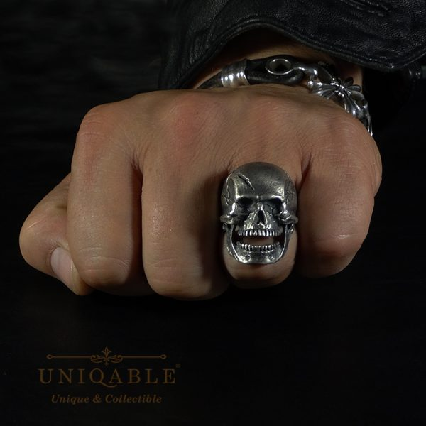 Open Jaw Skull Sterling Silver 925 Biker Ring Uniqable