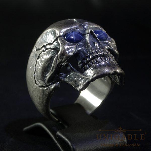 Full Jaw Skull Sterling Silver 925 Sapphire Biker Ring