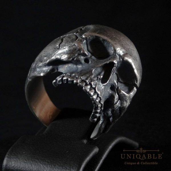 Half Jaw Skull Biker Ring 925 Sterling Silver Uniqable