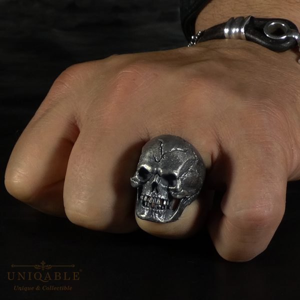 Angry Skull Sterling Silver 925 Biker Ring Uniqable