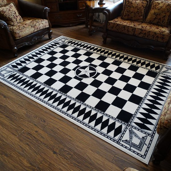 Masonic Checkered Wool Area Rug Carpet Freemason Uniqable