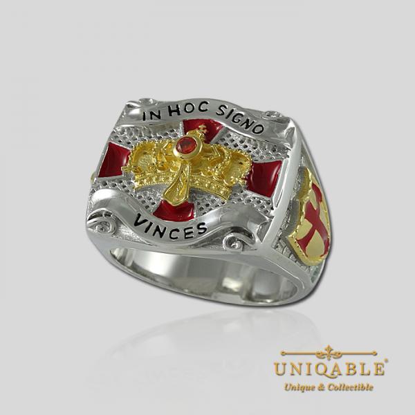 Knight Templar Sterling Silver Gold Plated Mason Masonic Freemason Freemasonry Men Ring3 1
