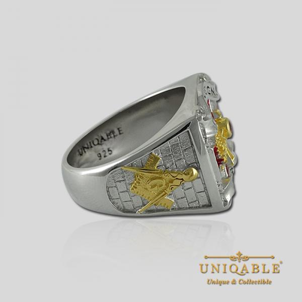 Knight Templar Sterling Silver Gold Plated Mason Masonic Freemason Freemasonry Men Ring5 1