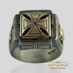 Knights Templar Skull Sterling Silver Gold Masonic Rings Freemason Cross Ring 1 1