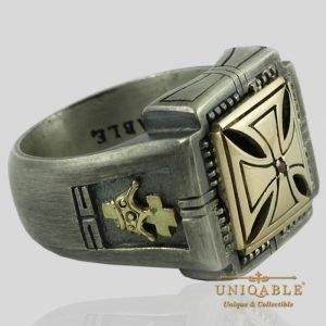 Knights Templar Skull Sterling Silver Gold Masonic Rings Freemason Cross Ring 2 1