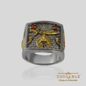 Shriner Sterling Silver Gold Mason Masonic Freemason Freemasonry Men Ring 1 1