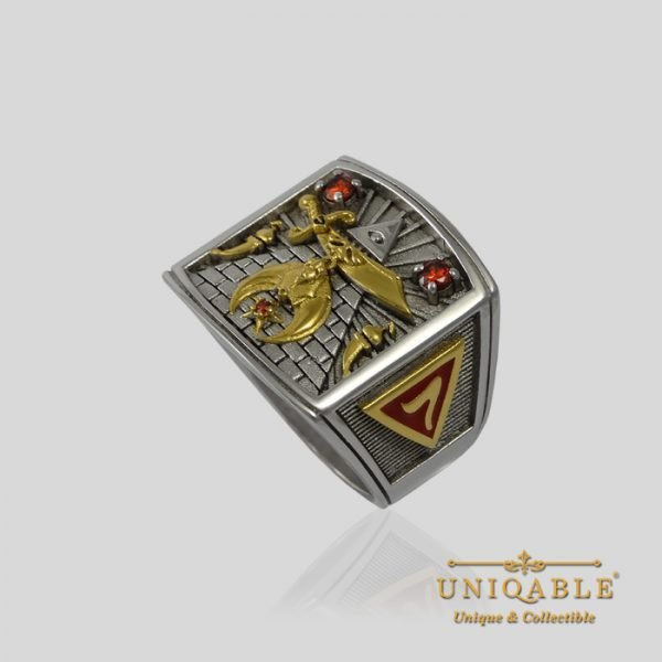 Shriner Sterling Silver Gold Mason Masonic Freemason Freemasonry Men Ring 2 1