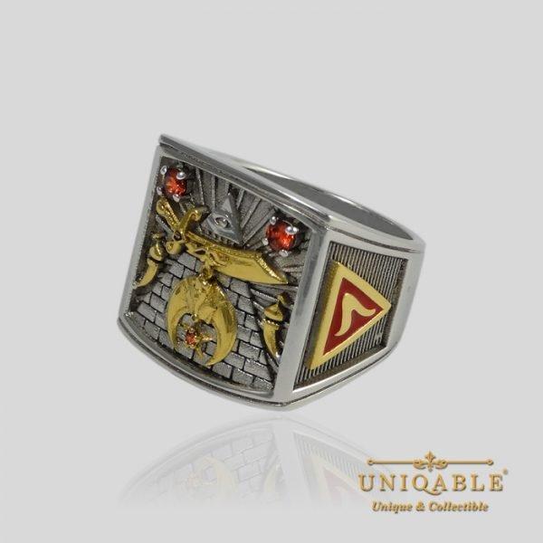 Shriner Sterling Silver Gold Mason Masonic Freemason Freemasonry Men Ring 4 1