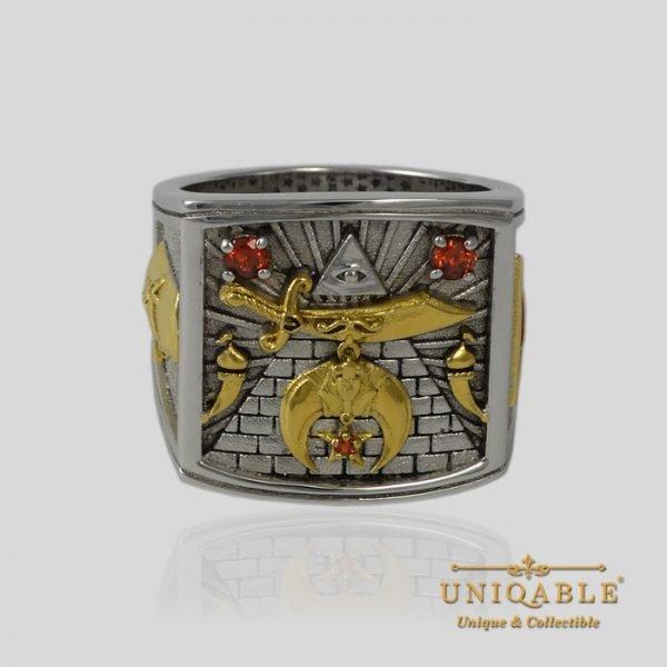 Shriner Sterling Silver Gold Mason Masonic Freemason Freemasonry Men Ring 5 1