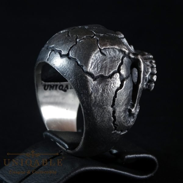 Skull Sterling Silver Biker Ring Custom Harley Davidson Masonic Heavy Metal 5 1