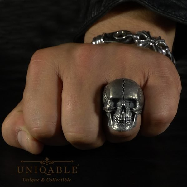 Sterling Silver Biker Skull Ring Custom Harley Davidson Masonic Heavy Metal 2 1