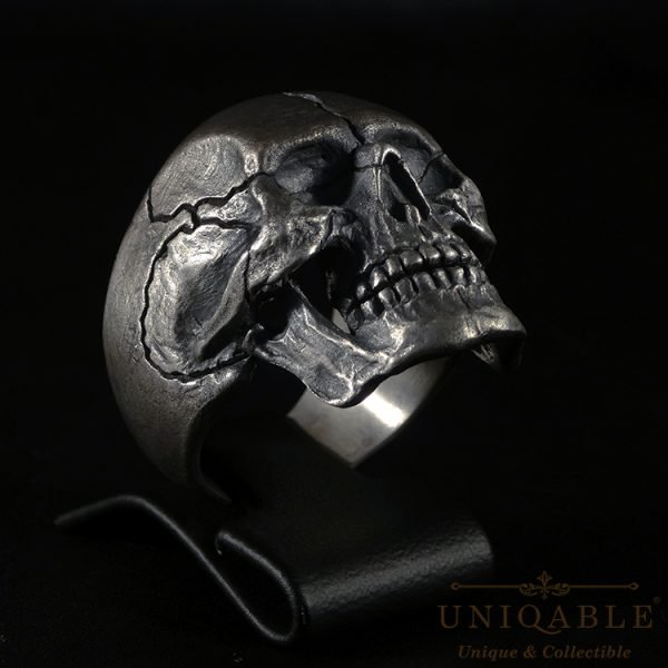 Sterling Silver Biker Skull Ring Custom Harley Davidson Masonic Heavy Metal 3 1