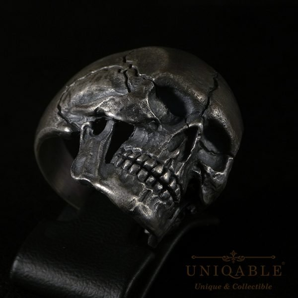 Sterling Silver Biker Skull Ring Custom Harley Davidson Masonic Heavy Metal 4 1