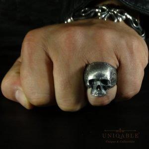 Sterling Silver Biker Skull Ring Custom Made Harley Davidson Freemason 2 1