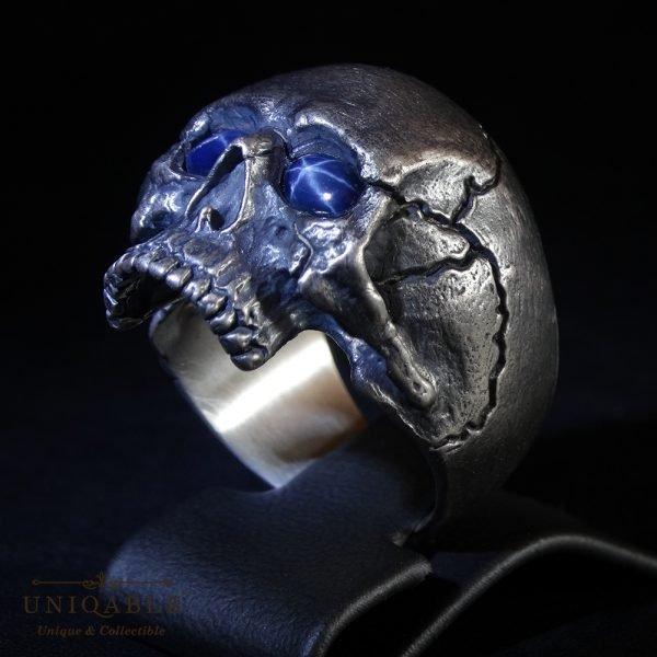 Sterling Silver Biker Skull Ring Custom Made Harley Davidson Freemason Gems 1 1