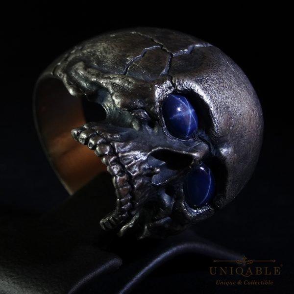 Sterling Silver Biker Skull Ring Custom Made Harley Davidson Freemason Gems 10 1