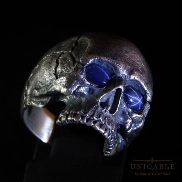 Sterling Silver Biker Skull Ring Custom Made Harley Davidson Freemason Gems 12 1