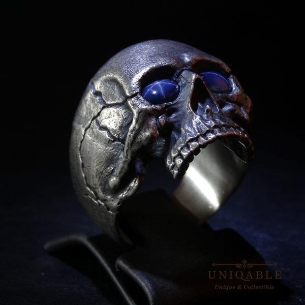 Sterling Silver Biker Skull Ring Custom Made Harley Davidson Freemason Gems 3 1