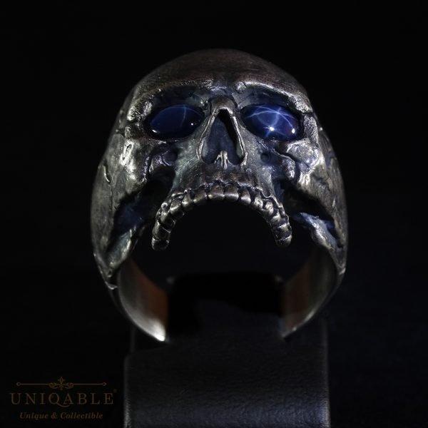 Sterling Silver Biker Skull Ring Custom Made Harley Davidson Freemason Gems 4 1