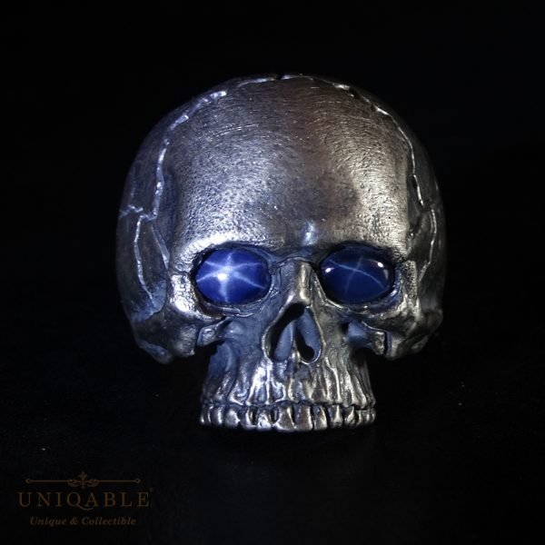 Sterling Silver Biker Skull Ring Custom Made Harley Davidson Freemason Gems 7 1