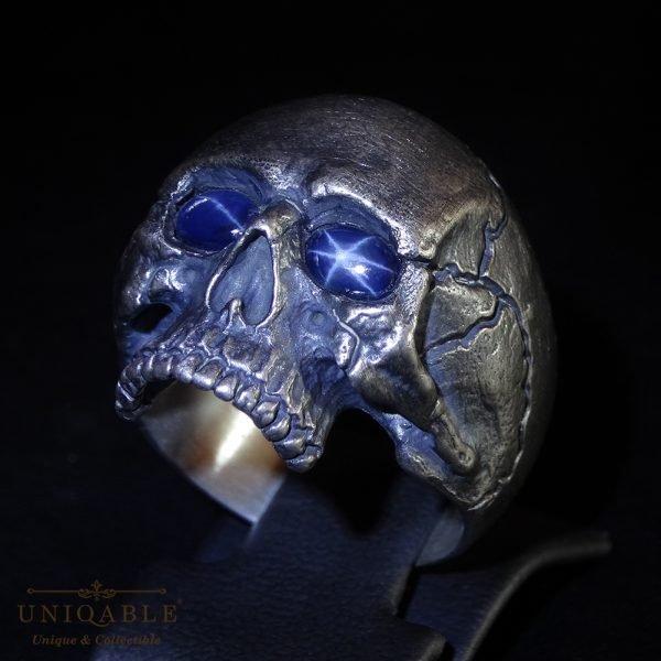 Sterling Silver Biker Skull Ring Custom Made Harley Davidson Freemason Gems 8 1