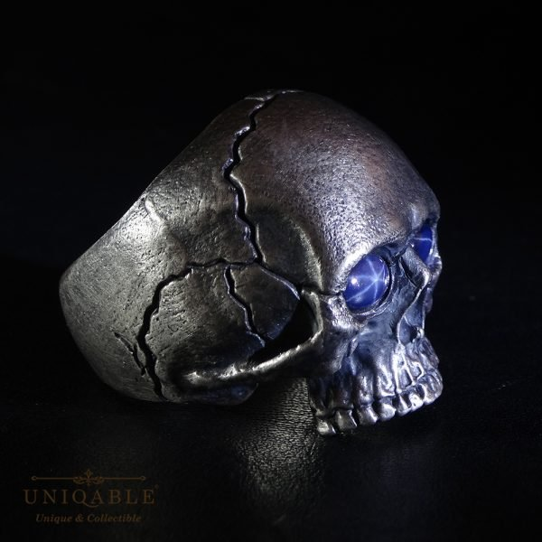 Sterling Silver Biker Skull Ring Custom Made Harley Davidson Freemason Gems 9 1