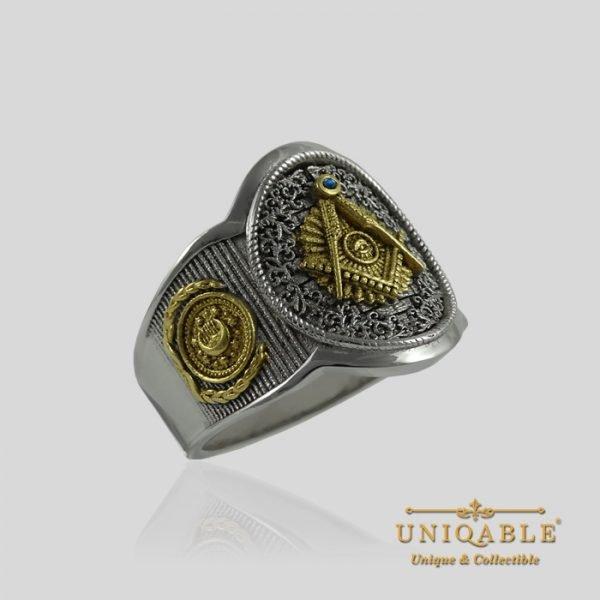 Sterling Silver Gold Mason Masonic Freemason Freemasonry Men Ring 1 1