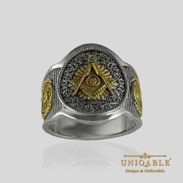 Sterling Silver Gold Mason Masonic Freemason Freemasonry Men Ring 2 1