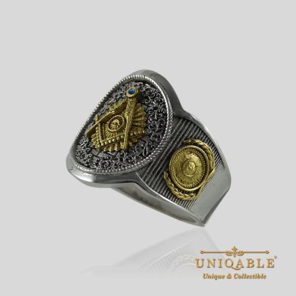 Sterling Silver Gold Mason Masonic Freemason Freemasonry Men Ring 3 1