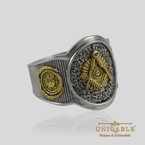Sterling Silver Gold Mason Masonic Freemason Freemasonry Men Ring 4 1